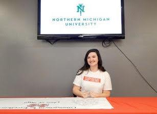 Chloe Hall was among those who selected NMU on Academic Signing Day at MSHS.
