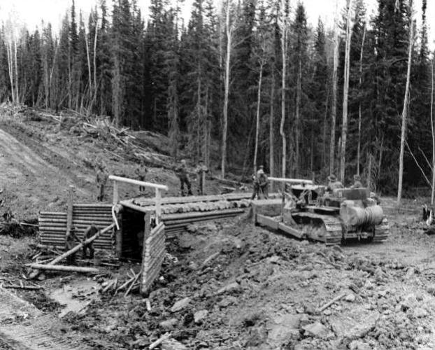 Alcan Highway construction historical photo
