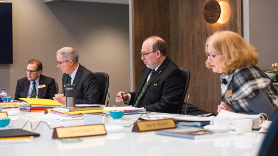 From left: Mitchell, Mahaney, Erickson and Seavoy at today's meeting