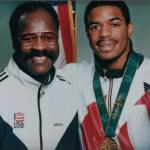 Mitchell (left) with former USOEC boxer David Reid, who won Olympic gold in 1996 and a WBA Junior Middleweight title.