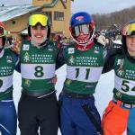 From left: NMU students Lundteigen and Seaborg; and MSHS students Aaron Grzelak, who finished second in Sunday's slalom, and Ty Springer.
