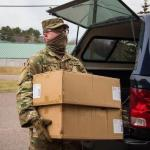 Szabo delivering supplies (photo by 2nd Lt. Ashley Goodwin)