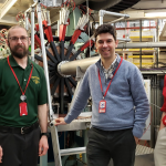 From left: Mengyan, Rui Vilao (University of Coimbra, Portugal) and Goeks in front of an instrument while working on an experiment at Rutherford Appleton Laboratory
