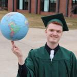 The world is spinning with possibilities for NMU 2021 grads, like Jared Evans of Marquette, to make a difference.
